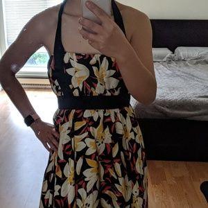 Anthropologie silk flowery halter dress backless